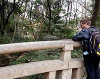 Meiji Jingu Bridge e homem Imagens de Stock Royalty Free