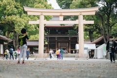 Meiji-jingu shrine, located in Shibuya, landmark and popular for tourist attractions. 6 April 2018, Tokyo, Japan stock image