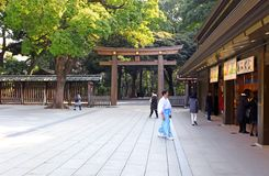 Meiji Jingu Shrine in Shibuya, Tokyo. The Meiiji Jingu Shrine is a Shinto shrine dedicated to deified spirits of the Emperor Meiji and his wife Empress Shoken royalty free stock image
