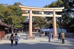 Meiji Jingu Shrine in Shibuya, Tokyo. The Meiiji Jingu Shrine is a Shinto shrine dedicated to deified spirits of the Emperor Meiji and his wife Empress Shoken stock photos