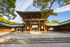 Meiji-jingu shrine in Tokyo, Japan. Tokyo, Japan - February 16, 2015: Meiji Shrine located in Shibuya, Tokyo, is the Shinto shrine that is dedicated to the stock images