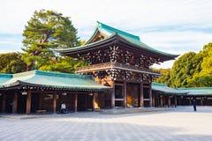Meiji-jingu shrine in Tokyo, Japan. Tokyo, Japan - February 16, 2015: Meiji Shrine located in Shibuya, Tokyo, is the Shinto shrine that is dedicated to the stock photo
