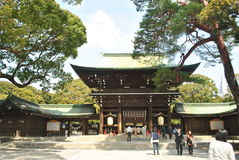 Meiji Jingu Shrine. Tourists walking entrance to the Meiji Shrine shrine in Shibuya, Tokyo, Japan Stock Images