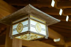 Traditional Japanese lantern hanging at the famous Meiji Shrine in Tokyo, Japan. stock photos