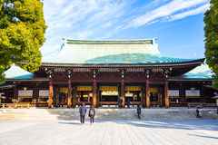 Meiji Shrine in Tokyo, Japan. Tokyo, Japan - February 16, 2015: Meiji Shrine located in Shibuya, Tokyo, is the Shinto shrine that is dedicated to the deified stock photos