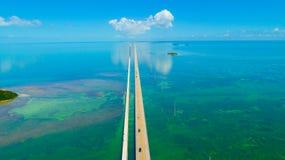 7 Meilen-Brücke Schattenbild des kauernden Geschäftsmannes Florida-Schlüssel, Marathon, USA Lizenzfreie Stockfotografie