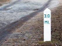 3-Meilen-Markierung für das Exerciseing Stockfotografie