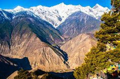Meili(Meri) Snow Mountains and Lancang River Canyon Royalty Free Stock Photography