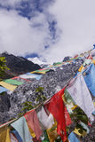 Meili snow Mountain also know as Kawa Karpo located in Yunnan Pr. Ovince, China decorated with colorful prayer flag Stock Image