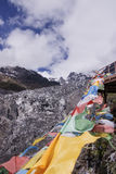 Meili snow Mountain also know as Kawa Karpo located in Yunnan Pr. Ovince, China decorated with colorful prayer flag Stock Photos