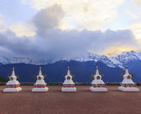 Meili snow mountain and Tibetan stupa, Feilai temple, Deqing, Yunnan, China. Stock Photo