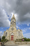 Meillac. (Cotes-d'Armor, Brittany, France) - Exterior of ancient church, facade Royalty Free Stock Photo
