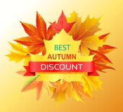 Meilleur Autumn Discount Promo Advertisement sur le jaune Photo libre de droits