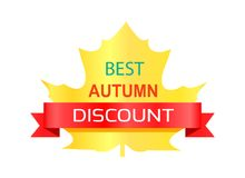 Meilleur Autumn Discount Sticker Vector Illustration Image stock