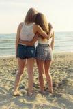 Meilleurs amis étreignant devant l'océan au coucher du soleil Photos libres de droits