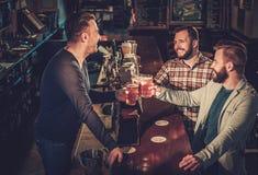 Meilleurs amis ayant l'amusement et buvant de la bière pression au compteur de barre dans le bar Photographie stock libre de droits