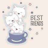 Meilleurs amis de chats s'asseyant dans la tasse de café bleue d'isolement sur le fond rose illustration de vecteur