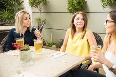 Meilleurs amis parlant à un restaurant Images stock