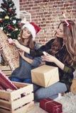 Meilleurs amis pendant le temps de Noël Photographie stock libre de droits