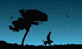 Meilleurs amis une nuit étoilée, illustratio de vecteur Image libre de droits