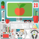 Mein Desktop, Geschäft, Büro Stock Abbildung