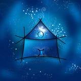 Mein Fantasiehaus auf einer sternenklaren Nacht Stockfoto