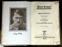 Mein Kampf. A copy of Adolf Hitler's book Mein Kampf (My Struggle) with a portrait of the author is at display at the Sinsheim (Germany&#x29