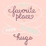 Mein Lieblingsplatz ist innerhalb Ihrer Umarmung auf rosa Hintergrund, ENV 10 Stockfoto