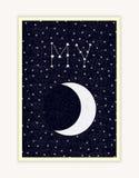 Mein Mond, nächtlicher Himmel, Konstellationsbeschriftung, glückliches Valentinsgruß-Tagesplakat Lizenzfreie Stockbilder