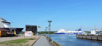 Mein Schiff 4 Cruise ship and DFDS Seaways ship. In Klaipeda harbour, Lithuania stock images