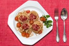 Mein Spaghettiabendessen lizenzfreies stockbild