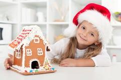 Mein Weihnachtslebkuchen-Plätzchenhaus Stockfotografie