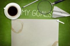 Mein Zielkonzept auf grüner Tafel mit Kaffee Lizenzfreies Stockfoto