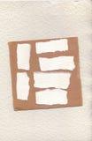 Meine Blätter Papier zerrissen von den Wahnvorstellungen gescannt, um für Sie Platz zu machen, um zu schreiben Post-Itsatz benutz Lizenzfreie Stockbilder