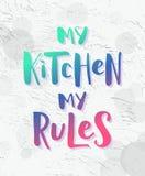 Meine Küche, meine Regeln Moderner Steigungseffekttext auf hellem Schmutzhintergrund Vektorillustrationshandbeschriftungszitat vektor abbildung