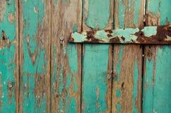 Meine rustikale blaue Haustür Stockbild