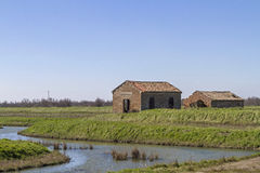 Meinten Sie: Bauernhaus im Po Deltaboerderij in de Po Delta Royalty-vrije Stock Afbeelding