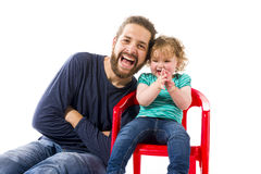 Meinten Sie: Vater hat spa� mit Baby Father having fun with baby Royalty Free Stock Photo