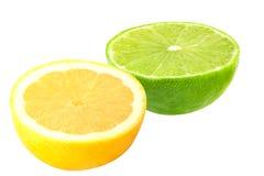 Meio cal e limão isolados Imagem de Stock