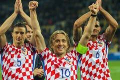 Meio-campo da equipa nacional de Croácia Luka Modric Imagens de Stock Royalty Free