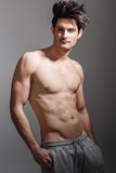 Meio corpo 'sexy' despido do homem atlético muscular foto de stock