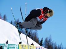 Meio estilo livre do esqui da tubulação fotografia de stock