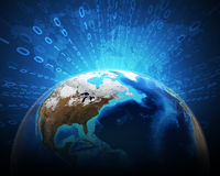 Meio globo azul da terra com os continentes, transparentes ilustração do vetor