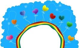 Meio mundo com corações e borboletas Foto de Stock Royalty Free
