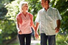 Meio romântico pares envelhecidos que andam ao longo do trajeto do campo Fotografia de Stock