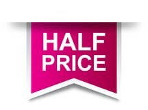 Meio rosa da etiqueta do preço ilustração do vetor