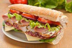Meio sanduíche das carnes do Baguette Foto de Stock