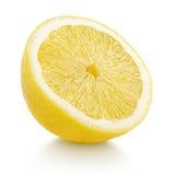 Meios citrinos do limão isolados no branco Fotos de Stock Royalty Free