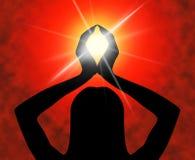 Meios da pose da ioga que meditam a espiritualidade e a meditação Fotos de Stock Royalty Free