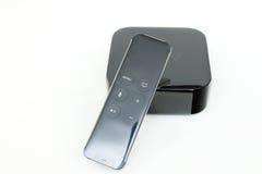 Meios de tevê novos de Apple que fluem o microconsole do jogador Fotos de Stock